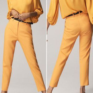 Massimo Dutti Slim Tapered High Rise Yellow Pants